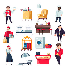 Hotel services concept and staff collection of vector