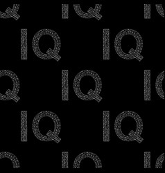 iq hand drawn sign seamless pattern vector image