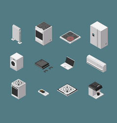 isometric 3d household kitchen appliance and vector image