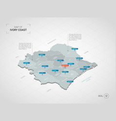 Isometric ivory coast map with city names and vector