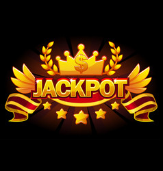 Jackpot banner casino label with crown and ribbon vector