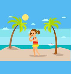 kid listening to seashell sound sea summer vector image