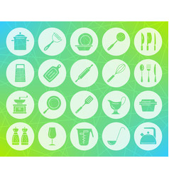 Kitchenware shape carved flat icons set vector