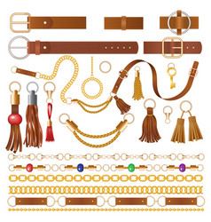 Leather elements fabric decoration for clothes vector
