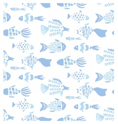 Light blue colors hand drawn fishes pattern vector image vector image