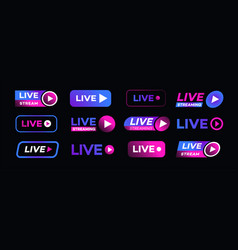 Live streaming icon set neon style vector