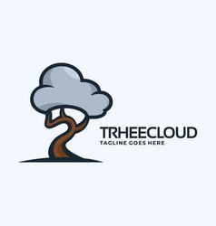 logo tree cloud cute cartoon vector image