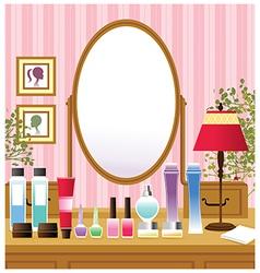 Makeup beauty table vector image