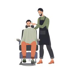 male hairdresser professional fashionable beard vector image