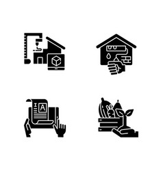 manual work black glyph icons set on white space vector image