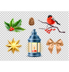 merry christmas realistic symbols toys set vector image