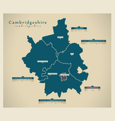 Modern map - cambridgeshire county with labels uk vector