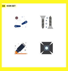 Modern set 4 flat icons and symbols such as vector