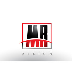 Mr m r logo letters with red and black colors and vector