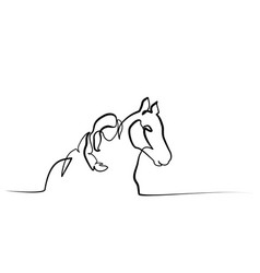 One line drawing girl lying a horse vector