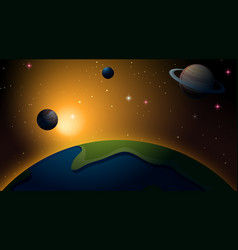 Outer space earth scene vector