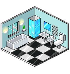 pixel art isometric bathroom detailed vector image