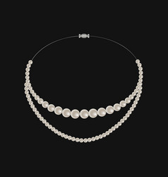 realistic pearl necklace isolated on black vector image