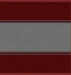 red leather texture with white stitching vector image