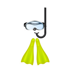 Retro diving goggles with yellow flippers vector