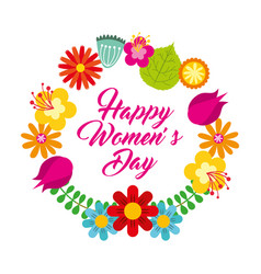Round frame floral delicate card happy womens day vector
