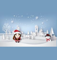 santa and snow an vector image