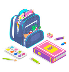 School chancery backpack with notebook vector