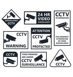 security camera icons cctv symbols vector image