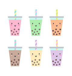 set different cups with bubble tea vector image