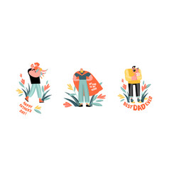 Set funny cartoon fathers day vector
