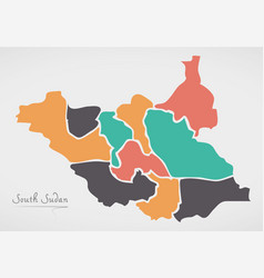 south sudan map with states vector image