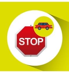 Stop road sign sedan red vector