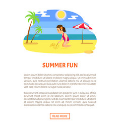 summer fun girl sits and draws stick on beach vector image