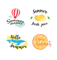 Summer labels logos hand drawn tags and elements vector