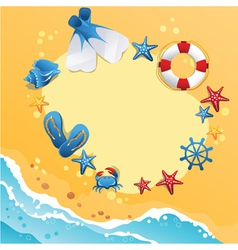 Template design of summer beach banner vector image