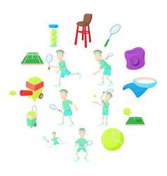 tennis icons set cartoon style vector image