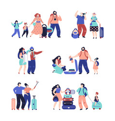tourist people travel couple isolated travellers vector image