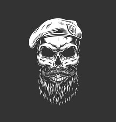 Vintage navy seal skull in beret vector