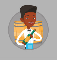 Waiter holding bottle of alcohol vector