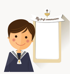 first communion child foreground with message vector image vector image