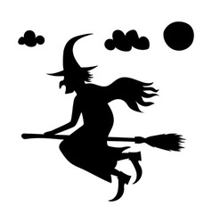 He scary witch flying on a broomstick vector