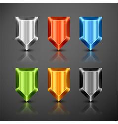 metallic infographics pointer shield vector image