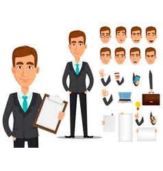 business man cartoon character creation set vector image