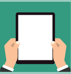 businessman hands are holding the touch screen vector image