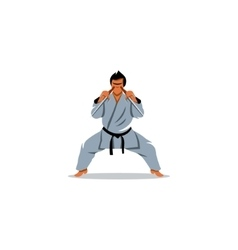 Man karate in kimono holding a pair of sai sign vector image vector image