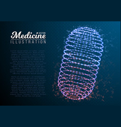 medicine pill mesh wireframe pill vector image vector image