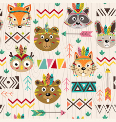 seamless pattern with tribal animals faces vector image