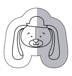 sticker monochrome contour and half shadow with vector image