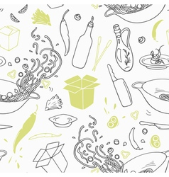Stylized seamless pattern with hand drawn wok vector image