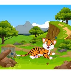 funny baby tiger cartoon in the jungle vector image vector image
